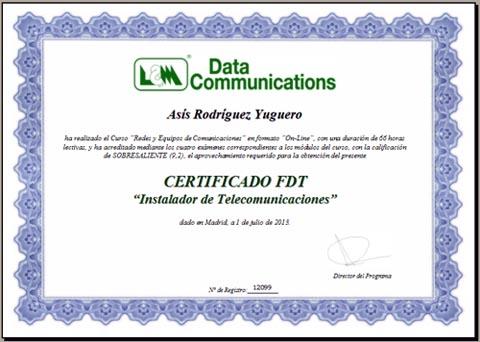 Ejemplo de Certificado FDT
