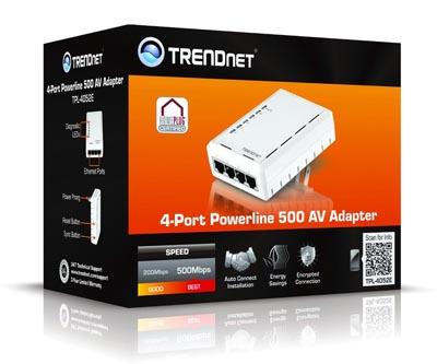 Adaptador Powerline 500 AV con cuatro puertos