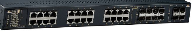 Switches Gigabit con puertos de cobre y fibra óptica