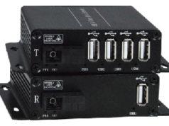 Extensor USB 2.0 de cuatro puertos mediante cable de fibra óptica