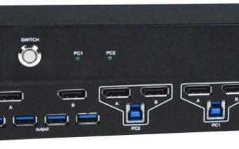 Switch KVM DisplayPort con hub USB 3.2 para dos monitores 4K