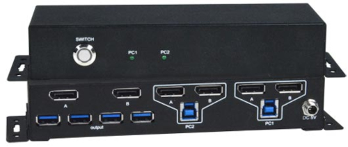 Switch KVM DisplayPort con hub USB 3.2 para dos monitores 4K